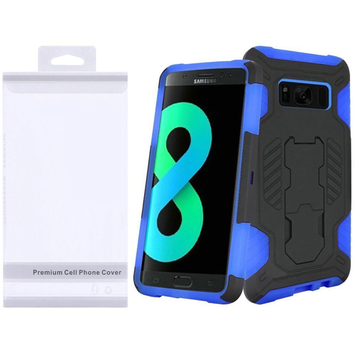 Insten SuperCoil Hard Dual Layer Plastic Cover Case w/stand For Samsung Galaxy S8 Plus, Black/Blue