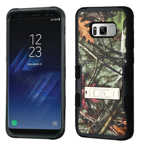 Insten Tuff Oak Leaves Hard Hybrid Plastic TPU Cover Case For Samsung Galaxy S8 Plus, Black/Green