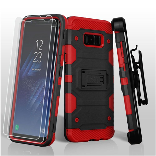 Insten Tank Hard Plastic TPU Case Lanyard w/stand/Bundled For Samsung Galaxy S8, Black/Red