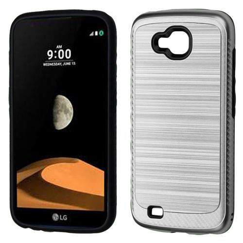 Insten Hard Hybrid Brushed TPU Cover Case For LG V9/X Venture, Silver/Black