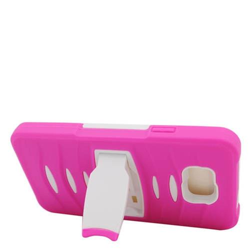 Insten Gel Hybrid Rubber Hard Case w/stand For Samsung Galaxy Alpha, Hot Pink/White