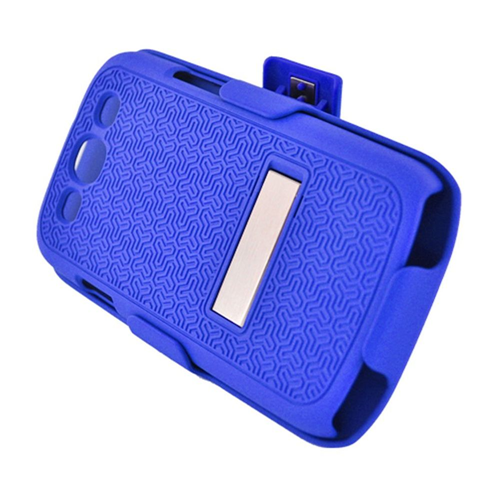 Insten Hard Rubberized Cover Case w/stand/Holster For Samsung Galaxy S3, Blue