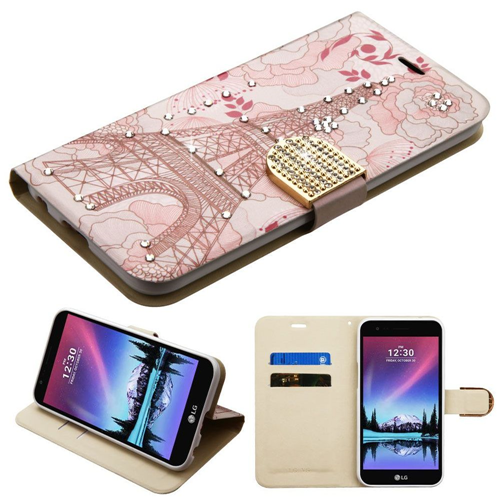 Insten Eiffel Tower Folio Leather Fabric Case w/stand For LG Harmony/K10 (2017)/K20 Plus/K20 V, Pink
