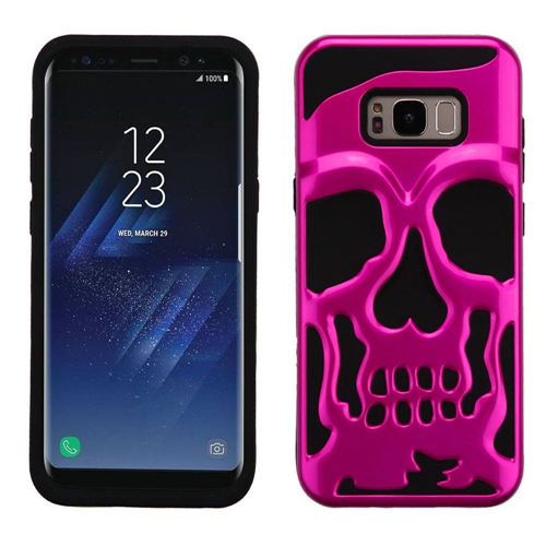 Insten Skullcap Hard Dual Layer Plastic TPU Case For Samsung Galaxy S8 Plus, Hot Pink/Black