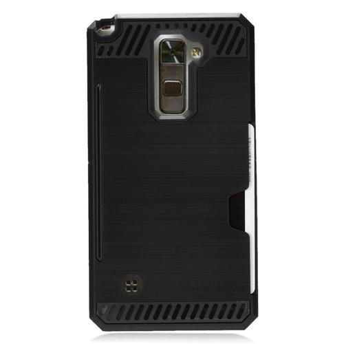 Insten Chrome Brushed Hard Case w/card slot For LG Stylo 2/Stylus 2, Black