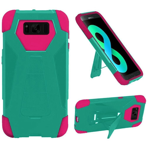 Insten T-Stand Hard Hybrid Rubber Silicone Case w/stand For Samsung Galaxy S8 Plus, Teal/Hot Pink