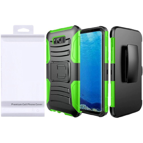 Insten Symbiosis Hard Hybrid Plastic Case w/stand For Samsung Galaxy S8, Black/Neon Green