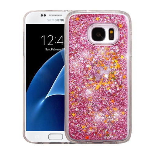 Insten Quicksand Stars Hard Plastic TPU Cover Case For Samsung Galaxy S7, Pink