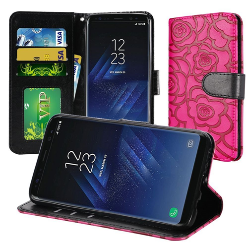 Insten Rose Book-Style Leather Fabric Case Lanyard w/stand For Samsung Galaxy S8, Hot Pink/Black