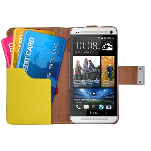 Insten Multicolor Book-Style Leather Fabric Cover Case w/card holder For HTC One M7, Black/Yellow