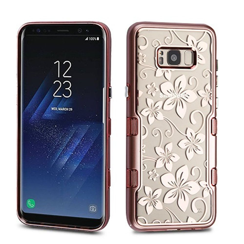 Insten Hibiscus Flower Hard Dual Layer Plastic TPU Case For Samsung Galaxy S8 Plus, Rose Gold/Clear
