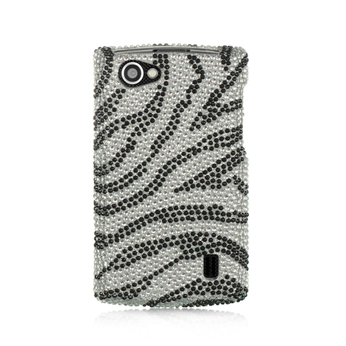 Insten Zebra Hard Bling Case For LG Optimus M+, Silver/Black