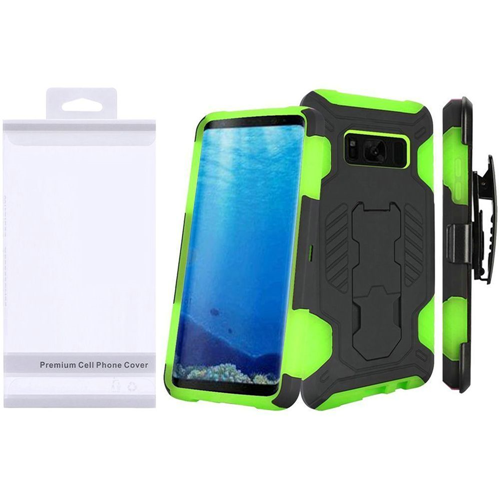 Insten SuperCoil Hard Hybrid Plastic Case w/stand/Holster For Samsung Galaxy S8, Black/Neon Green