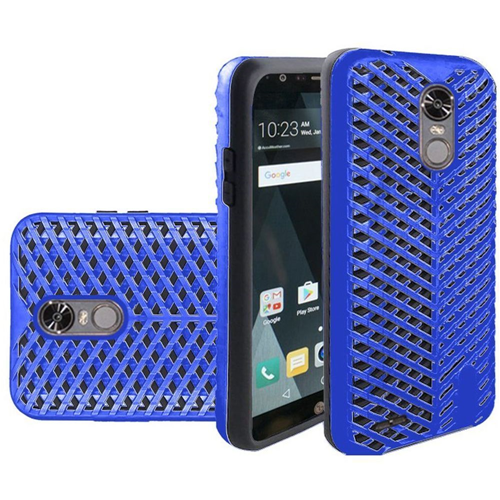 Insten ZigZag Hard Dual Layer TPU Cover Case For LG Stylo 3, Blue/Black