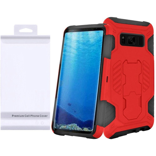 Insten SuperCoil Hard Dual Layer Plastic Case w/stand For Samsung Galaxy S8, Red/Black