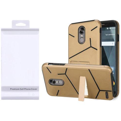 Insten Hard Hybrid Plastic TPU Cover Case w/stand For LG Stylo 3, Gold/Black