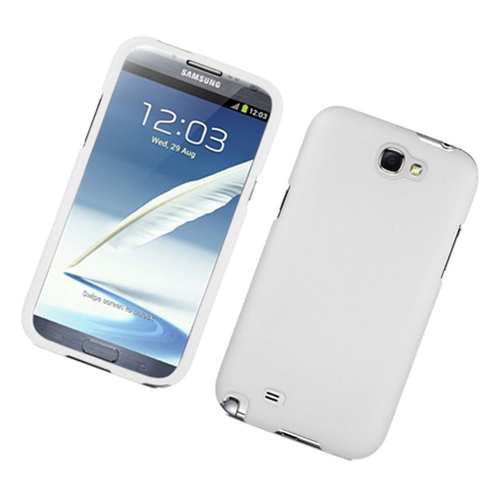 Insten Hard Rubber Case For Samsung Galaxy Note II, White