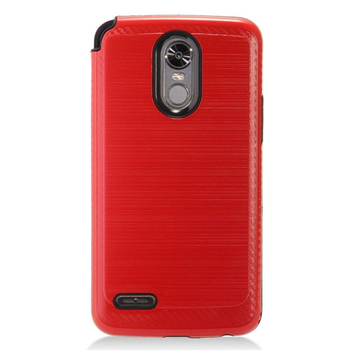 Insten Chrome Brushed Hard Cover Case For LG Stylo 3, Red/Black