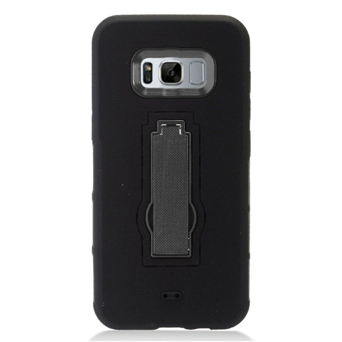 Insten Symbiosis Silicone Rubber Hard Case w/stand For Samsung Galaxy S8, Black