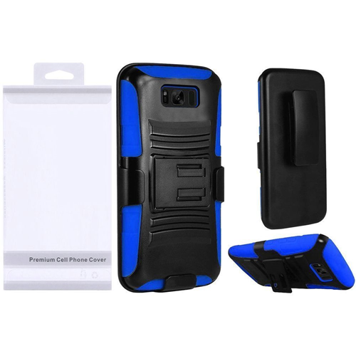 Insten Symbiosis Hard Hybrid Plastic Case w/stand For Samsung Galaxy S8 Plus, Black/Blue