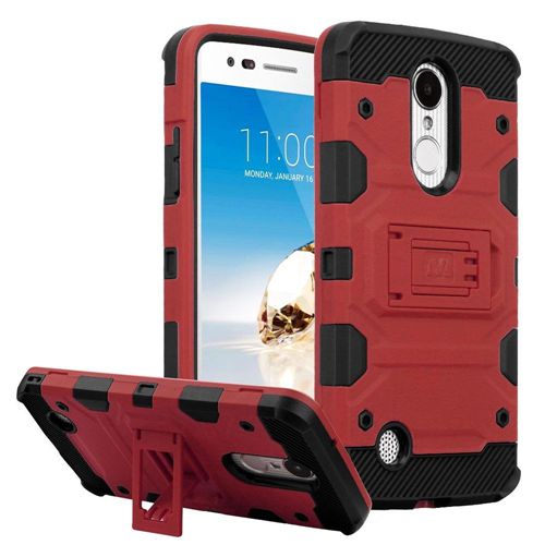 Insten Tank Hard Hybrid TPU Case For LG Aristo/Fortune/K4 (2017)/K8 (2017)/LV3/Phoenix 3, Red/Black