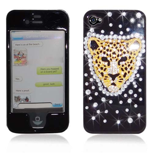 Insten Tiger Hard 3D Diamante Case For Apple iPhone 4/4S, Black/Gold