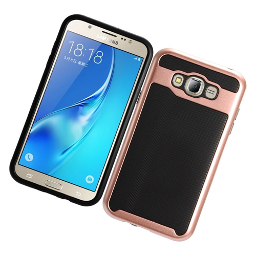 Insten Slim Hard TPU Cover Case For Samsung Galaxy J7 (2015), Rose Gold/Black