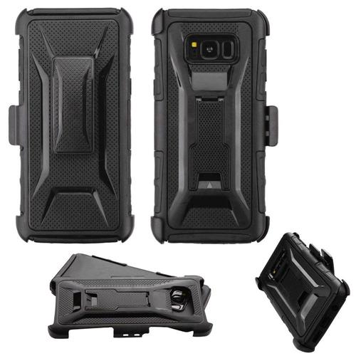 Insten Advanced Armor Hard Hybrid TPU Case w/stand/Holster For Samsung Galaxy S8 Plus, Black
