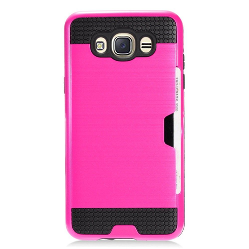 Insten Fitted Hard Shell Case for Samsung Galaxy J7 - Hot Pink;Chrome;Black