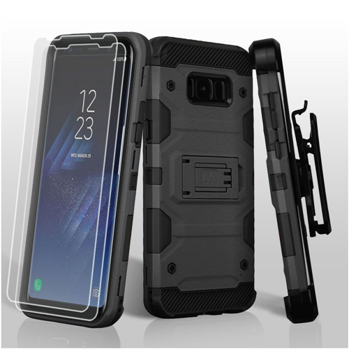 Insten Tank Hard Dual Layer Plastic TPU Case Lanyard w/stand/Bundled For Samsung Galaxy S8, Black