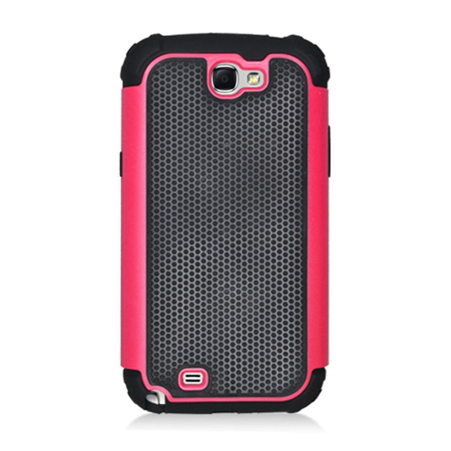 Insten Armor Vision Hard Dual Layer Silicone Case For Samsung Galaxy Note II, Black/Hot Pink