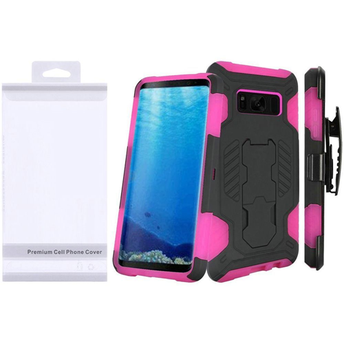 Insten SuperCoil Hard Dual Layer Plastic Case w/stand/Holster For Samsung Galaxy S8, Black/Hot Pink