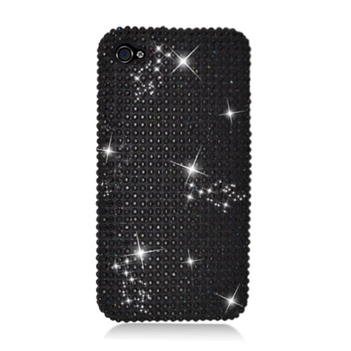 Insten Hard Rhinestone Case For Apple iPhone 4/4S, Black