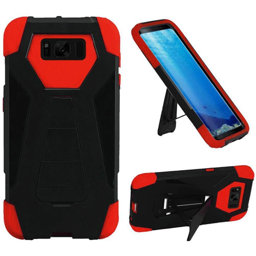 Insten T-Stand Hard Dual Layer Silicone Case w/stand For Samsung Galaxy S8, Black/Red