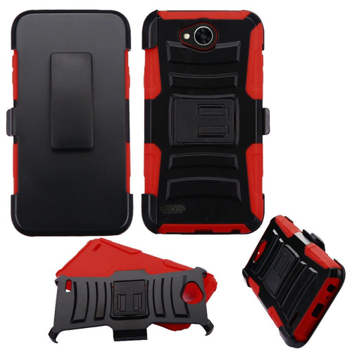 Insten Advanced Armor Hard Hybrid TPU Case w/stand/Holster For LG X Power 2, Black/Red