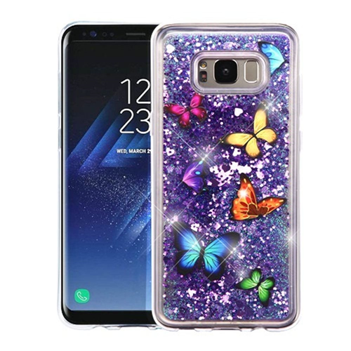 Insten Quicksand Butterfly Dancing Hard Plastic TPU Cover Case For Samsung Galaxy S8 Plus, Purple