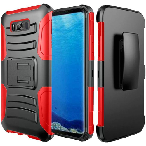 Insten Hard Dual Layer Rubber Silicone Cover Case w/stand/Holster For Samsung Galaxy S8, Black/Red