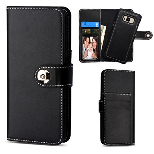 Insten Detachable Magnetic Folio Leather Fabric Case w/stand For Samsung Galaxy S8 Plus, Black