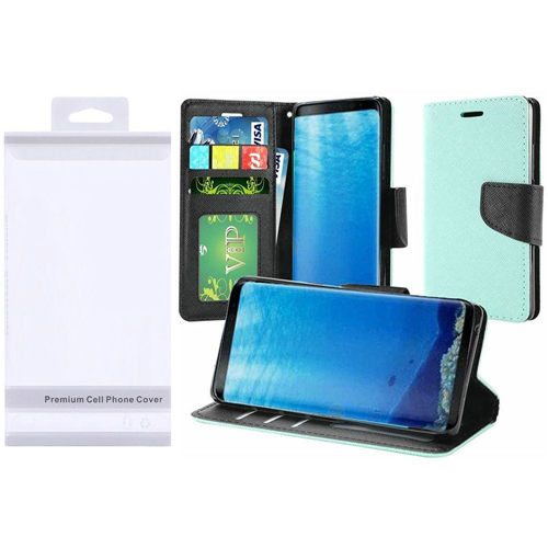Insten Leather Fabric Case Lanyard w/stand/Photo Display For Samsung Galaxy S8, Teal/Black