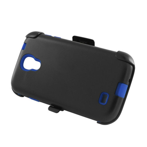 Insten Hard Plastic Silicone Cover Case w/Holster For Samsung Galaxy S4, Black/Blue