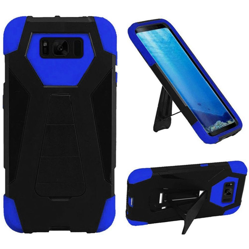 Insten T-Stand Hard Hybrid Rubberized Silicone Cover Case w/stand For Samsung Galaxy S8, Black/Blue
