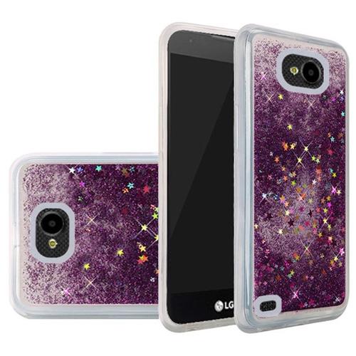 Insten Quicksand Hard Glitter Case For LG X Venture, Purple