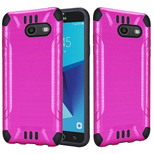 Insten Hybrid Brushed TPU Case For Samsung Galaxy Halo/J7 (2017)/J7 Perx/J7 Prime, Hot Pink/Black