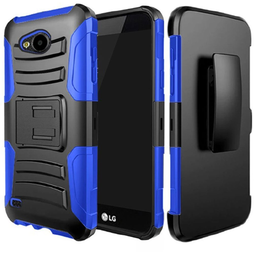 Insten Hard Dual Layer Rubber Silicone Cover Case w/stand/Holster For LG X Venture, Black/Blue