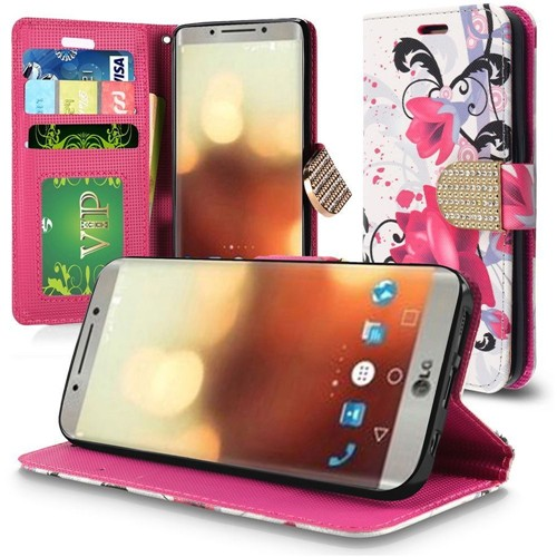 Insten Lily Book-Style Leather Fabric Case Lanyard w/stand/card slot/Diamond For LG G6, Multi-Color