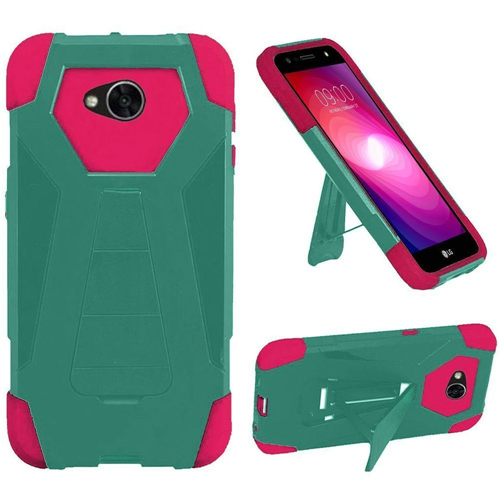 Insten T-Stand Hybrid Rubber Coated Case w/stand For LG Fiesta LTE/K10 Power/X Charge, Teal/Hot Pink