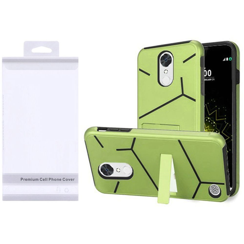 Insten Hard Plastic TPU Case w/stand For LG Grace 4G/Harmony/K20 Plus/K20 V, Neon Green/Black