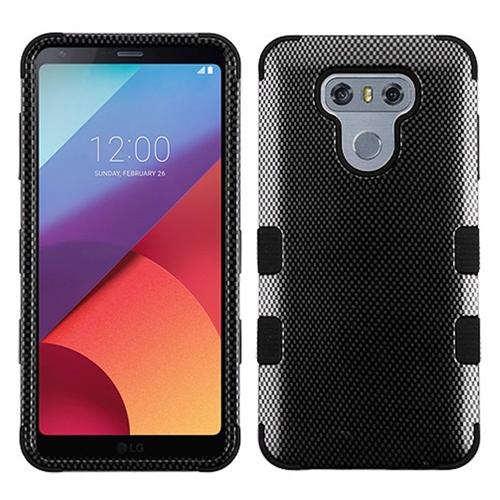 Insten Tuff Carbon Fiber Hard Hybrid Silicone Cover Case For LG G6, Black