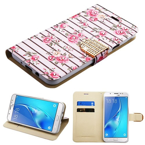 Insten Roses Leather Fabric Case For Samsung Galaxy J7 (2017)/J7 Perx/J7 Sky Pro/J7 V, White/Pink