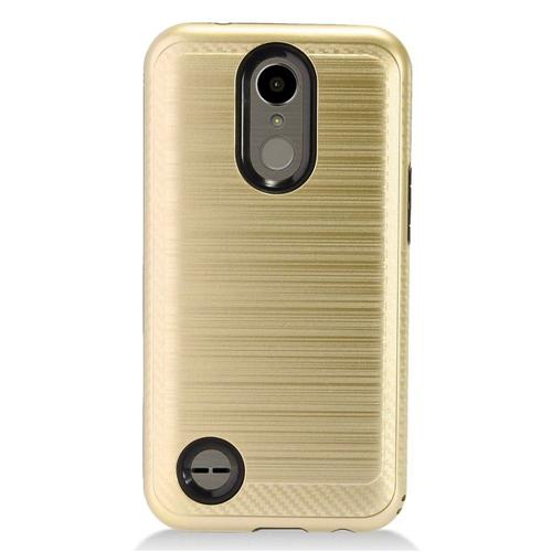 Insten Chrome Brushed Hard Cover Case For LG K10 (2017)/K20 Plus/K20 V, Gold/Black